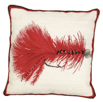 Red Wooly Bugger Needlepoint Pillow by Michaelian Home