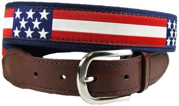 Retro American Flag Leather Tab Belt by Belted Cow