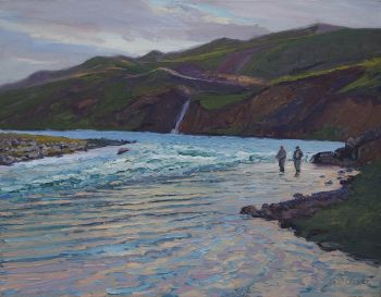 Rettanhylur Pool at Sunset is an original oil painting of a fishing scene by CD Clarke