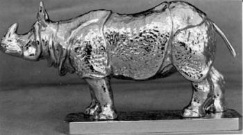 Asian - Indian Rhinoceros Hood Ornament or Car Mascot by Louis Lejeune comes in chrome, bronze, enamel or gold plated