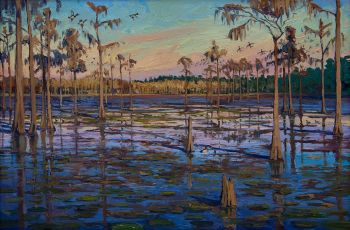 Ringnecks and Cypress oil painting by CD Clarke