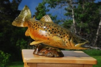 River Fish is a brown Trout Bronze Sculpture by Liz Lewis