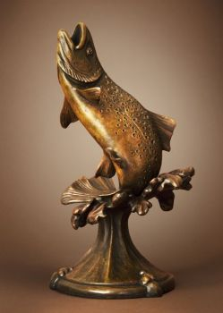 Riverdance is a bronze sculpture of a trout by Dan Genord