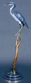 River's Edge is the name of a Great Blue Heron bronze sculpture by Christopher Smith
