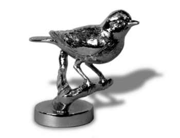 Robin on a Branch Chrome Hood Ornament by Louis Lejeune