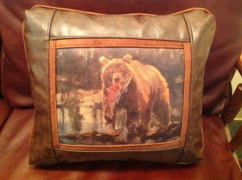 Rod Crossman Bear with Salmon Leather Pillow