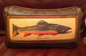 Rod Crossman Brook Trout Leather Pillow