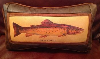 Rod Crossman Brown Trout Leather Pillow