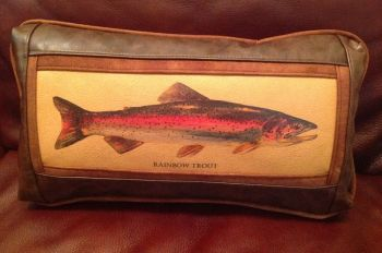 Rod Crossman Rainbow  Trout Leather Pillow