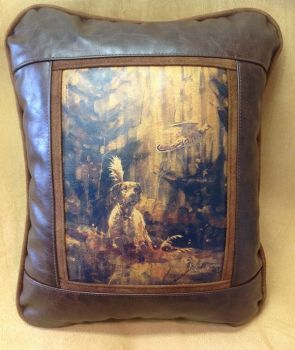Rod Crossman art of Setter on Point of Ruffed Grouse Leather Pillow