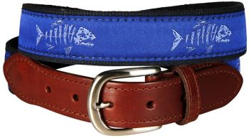Rogue Fish Ocean Blue Leather Tab Belt by Belted Cow