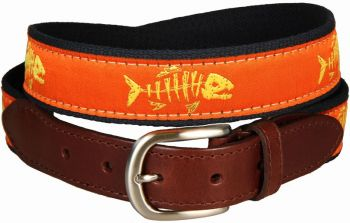 Rogue Fish Tangerine Leather Tab Belt by Belted Cow