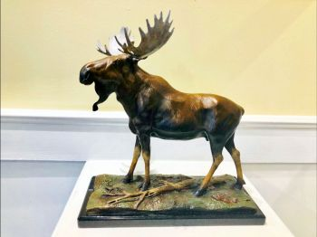Tundra Nomad is the name of a moose bronze sculpture by Ronnie Wells