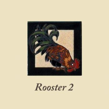 Rooster 2 design for 6 x 6 ceramic tile by Maanum Custom Tiles