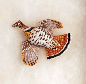 Ruffed Grouse Hand-Carved Wood Pin by Dick Cook