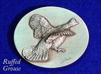 Ruffed Grouse sculptured pewter buckle by Lou DePaolis