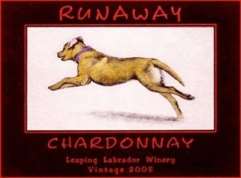 Runaway Chardonnay is an etching of a fantasy wine label of a yellow lab by Melanie Fain