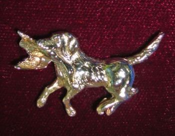 Running Lab with Mallard Silver Pin by Dick Cook