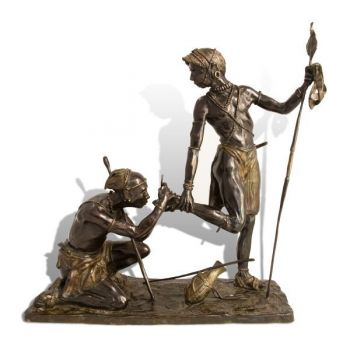 Running Repairs is a bronze sculpture of a Samburu Tribesman by John Tolmay