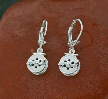 S Handle Fly Reel 9 mm Dangle earrings by Tight Lines Jewerly