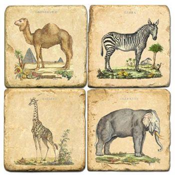 Safari Animals Italian Marble Coaster by Studio Vertu