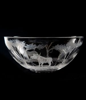 African Safari Big Bowl 5 - Queen Lace Crystal - Cape Buffalo