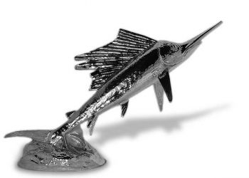Sailfish Hood Ornament or Car Mascot by Louis Lejeune comes in chrome, bronze, enamel or gold plated