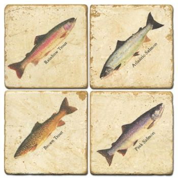 Salmon and Trout set of 4 wine coasters by Studio Vertu