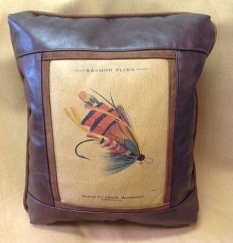 Salmon Fly Leather Pillow