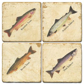 Salmon and Trout Italian Marble Coasters and Giftware