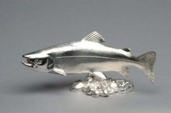 Salmon Swimming Hood Ornament or Car Mascot by Louis Lejeune comes in chrome, bronze, enamel or gold plated