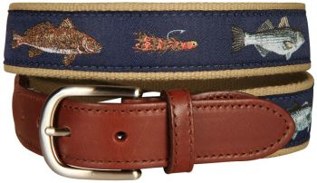 Saltwater fish and flies Leather Tab Belt by Belted Cow