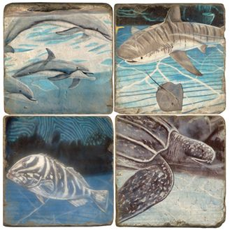 Saltwater Fish Italian Marble Coasters and Giftware
