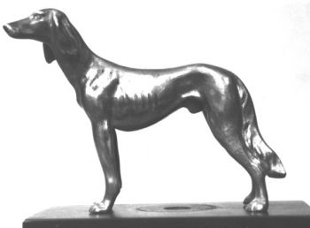 Saluki Hood Ornament or Car Mascot by Louis Lejeune comes in chrome, bronze, enamel or gold plated