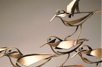 Sanderlings - a Bronze Sculpture by Don Rambadt