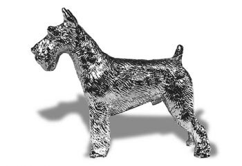 Schnauzer Hood Ornament or Car Mascot by Louis Lejeune comes in chrome, bronze, enamel or gold plated