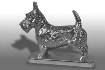 Scottie Aberdeen Terrier Hood Ornament or Car Mascot by Louis Lejeune comes in chrome, bronze, enamel or gold plated