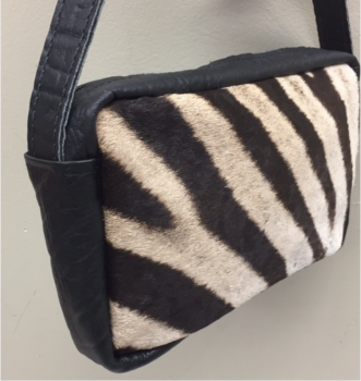 Zebra & Cape Buffalo Hide Crossbody Purse - Black - Front