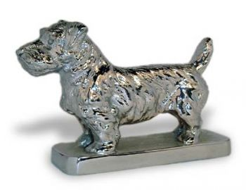 Sealyham Hood Ornament or Car Mascot by Louis Lejeune comes in chrome, bronze, enamel or gold plated