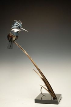 Kingfisher Bronze Sculpture by Don Rambadt