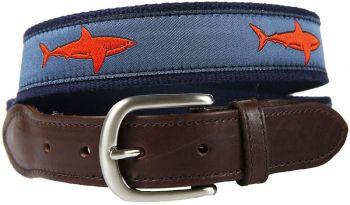 Shark Blood orange Color Leather Tab Belt by Belted Cow
