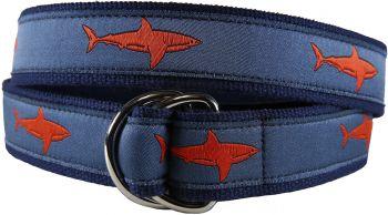 Shark Blood Orange D Ring Belt by Belted Cow