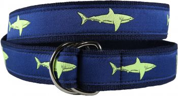 Shark - Lime Green D-Ring Belt by Belted Cow