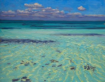 Shimmer Flat Study is the title of an original oil painting of shimmering water by CD Clarke