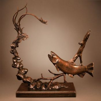 Shore Lunch is a bronze sculpture of a trout by Dan Genord