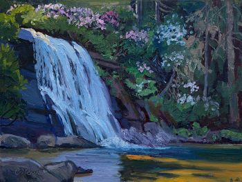 Silver Run Falls is the title of an original oil painting of waterfalls by CD Clarke
