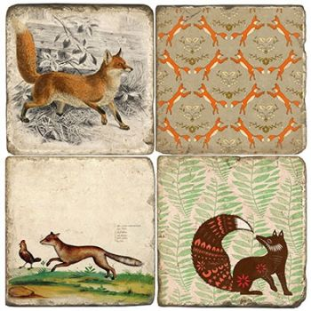 Sly Fox set of 4 wine coasters by Studio Vertu