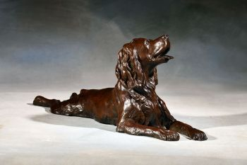 Spaniel Sprawl is a bronze sculpture of a spaniel by Liz Lewis