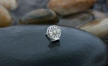 Spokes is a sterling silver Fly Reel Lapel - Tie Tack by Tight Lines Jewelry