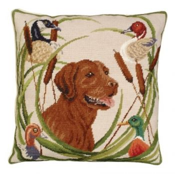 Sporting Chocolate Lab Needlepoint Pillow by Michaelian Home